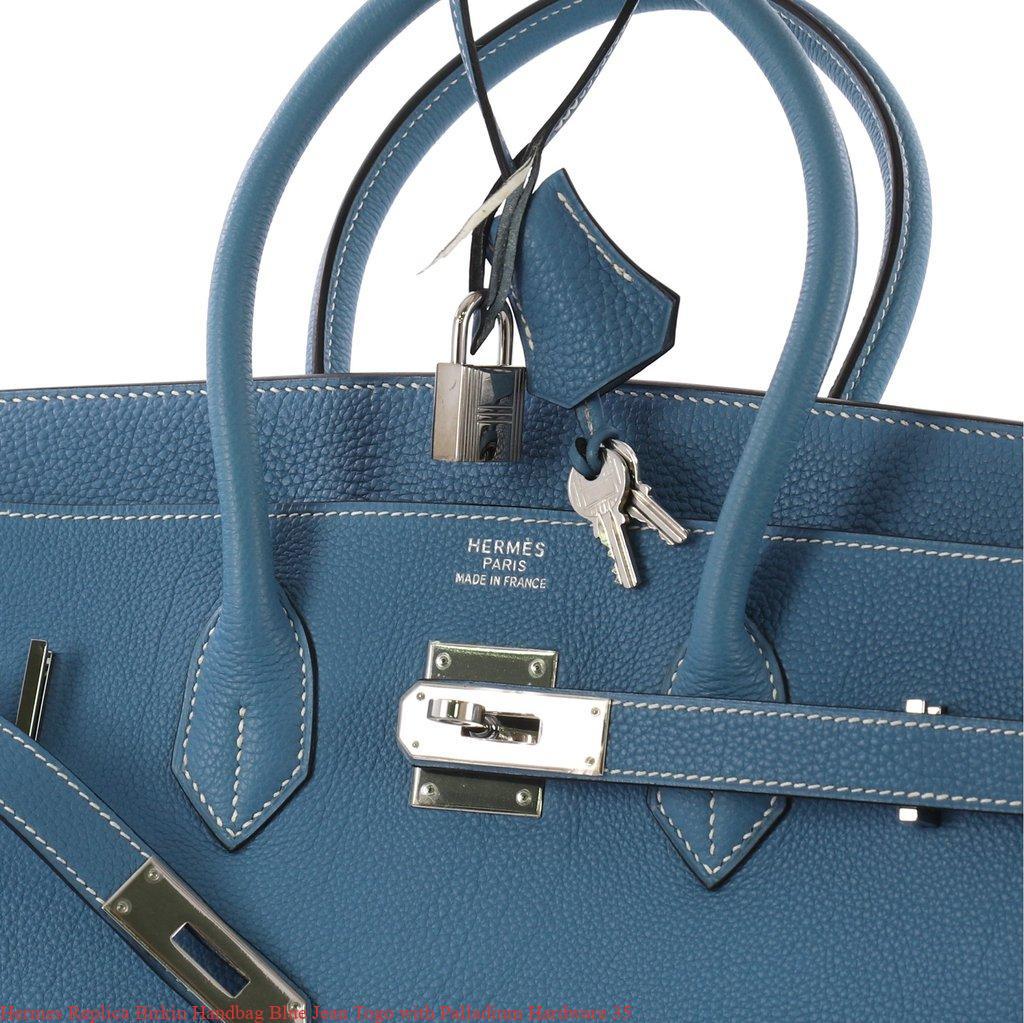 Hermes Replica Birkin Handbag Blue Jean Togo with Palladium Hardware ... d5b20492f5347
