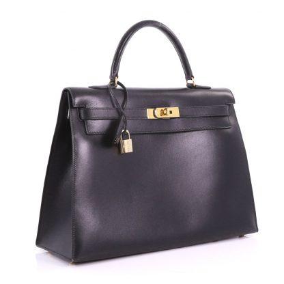 75739c5095bf Hermes Replica Kelly Handbag Black Box Calf with Gold Hardware 35 ...